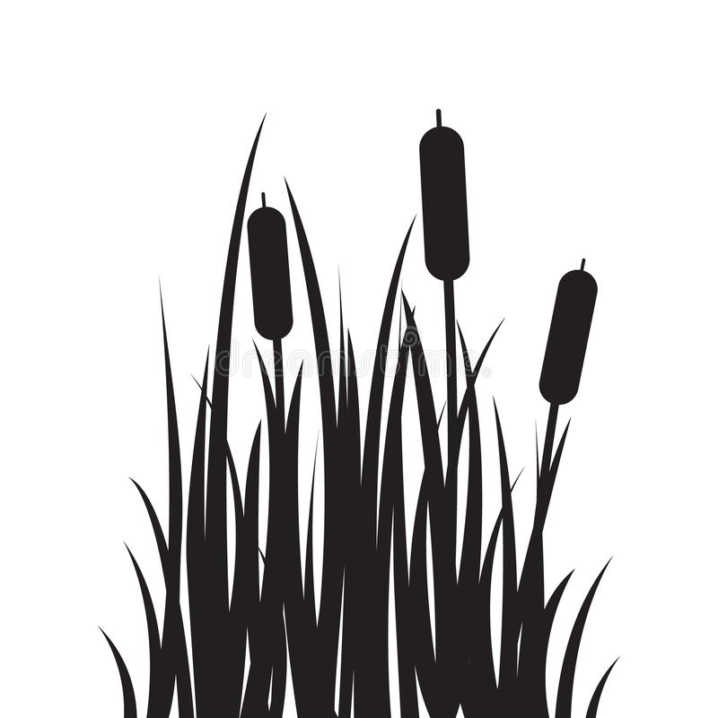 Carved silhouette flat icon, simple vector design. Cartoon grass with bulrush. stock illustration