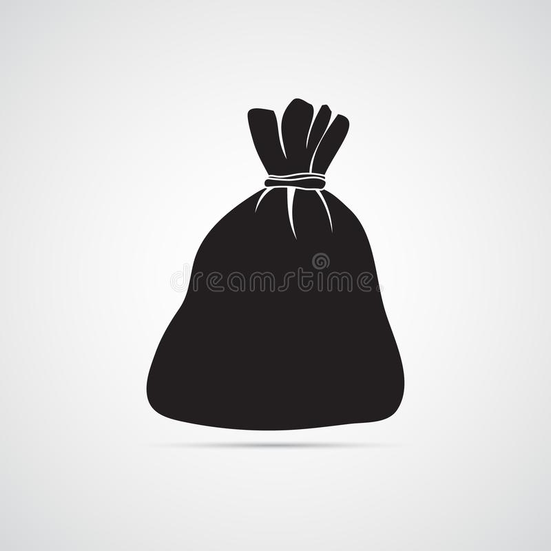 Carved silhouette flat icon, simple vector design. Empty bag. Illustration for money, budget, profit, finance. Symbol of financial savings stock illustration