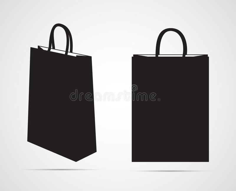 Carved silhouette flat icon, simple vector design. Empty paper bag mockup. Illustration for packing, bag with handles and shopping. Symbol of Shopping cart in stock illustration