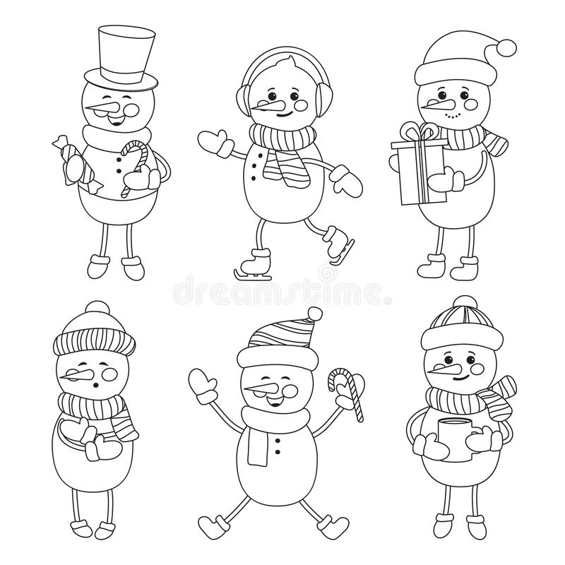 Carved silhouette flat icon, simple vector. Set of cartoon smiling snowmen in hat, scarf, gloves, skates. Illustration for winter vector illustration