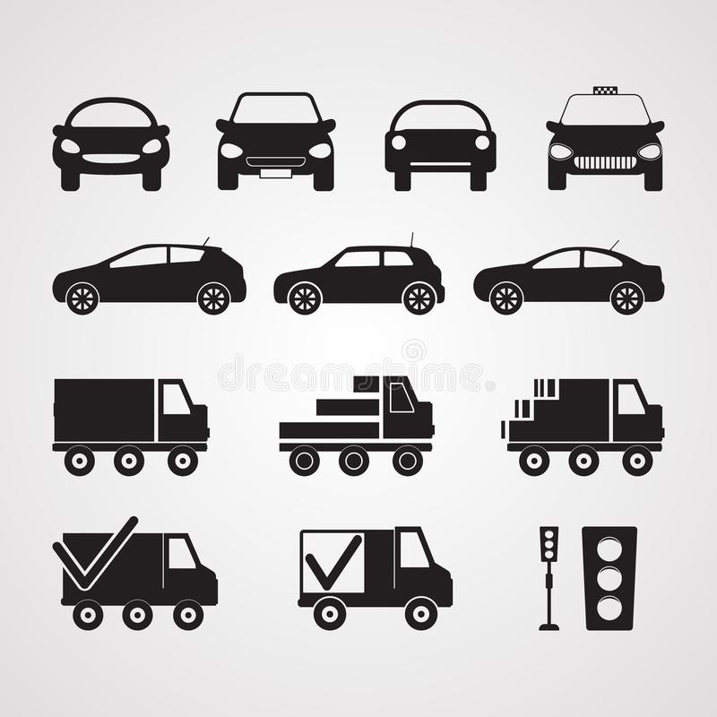 Carved silhouette flat icons, vector. Set of different cars in p. Rofile and full face. Illustration of transport, passenger and cargo transport. Truck, sedan stock illustration
