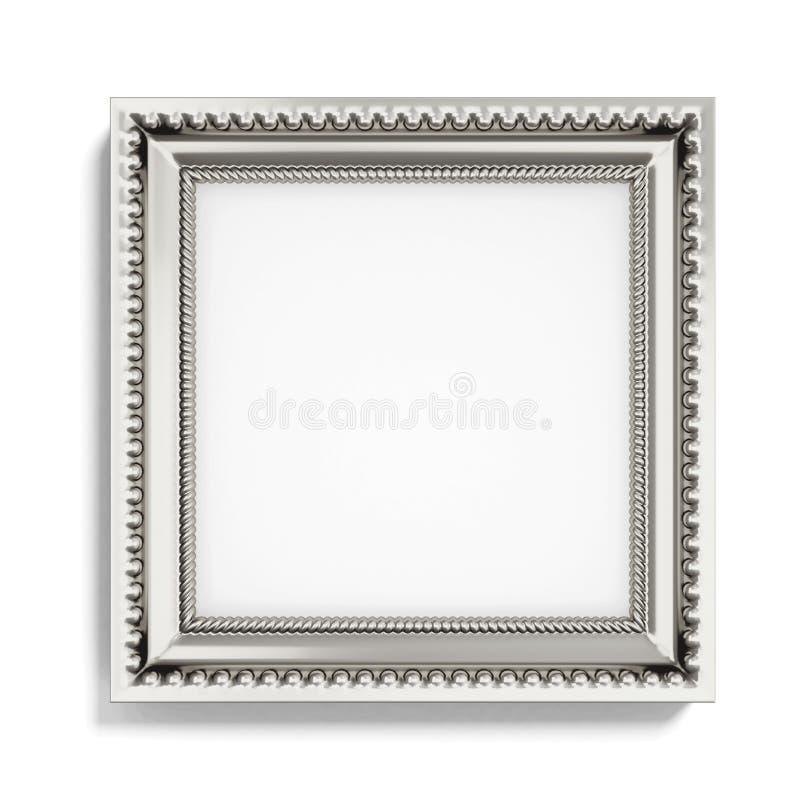 Carved silver picture frame on white background. 3d rendering vector illustration