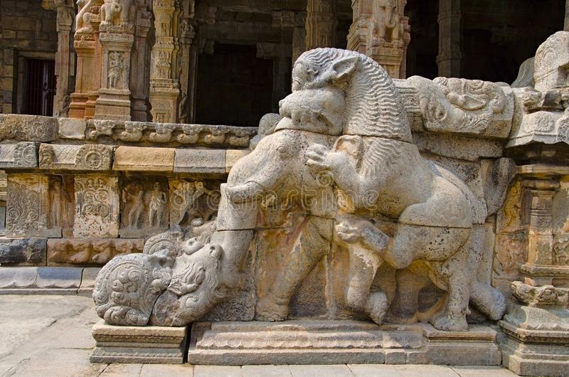 Carved staircase of the Airavatesvara Temple, Darasuram, near Kumbakonam, Tamil Nadu, India. Carved staircase on the inner wall of Airavatesvara Temple royalty free stock image