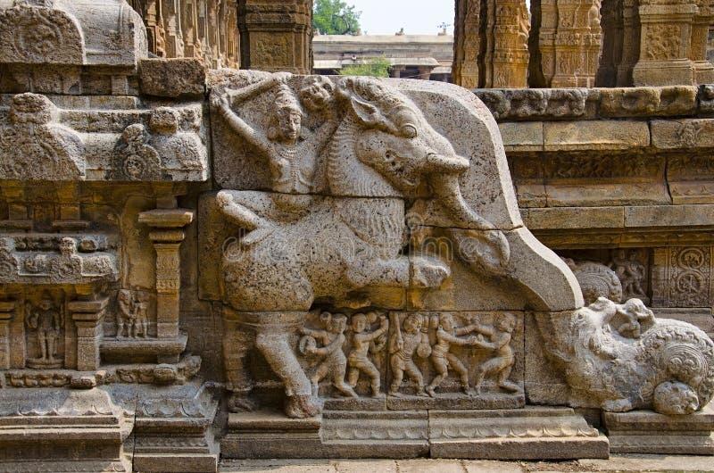 Carved staircase of Airavatesvara Temple, Darasuram, near Kumbakonam, Tamil Nadu, India. Carved staircase on the inner wall of Airavatesvara Temple, Darasuram stock photos