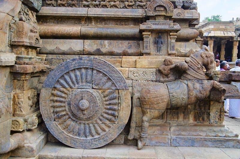 Carved stone chariot on the outer wall of Airavatesvara Temple, Darasuram, near Kumbakonam, Tamil Nadu, India. Carved chariot on the outer wall of Airavatesvara stock photography