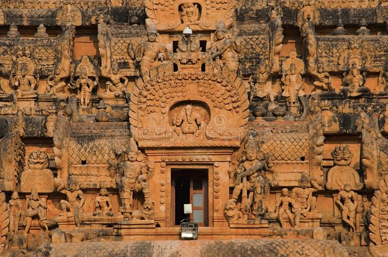 Carved stone Gopuram and entrance of the Brihadishvara Temple, Thanjavur, Tamil Nadu, India. Carved stone Gopuram, entrance gate Brihadishvara Temple, Thanjavur stock image