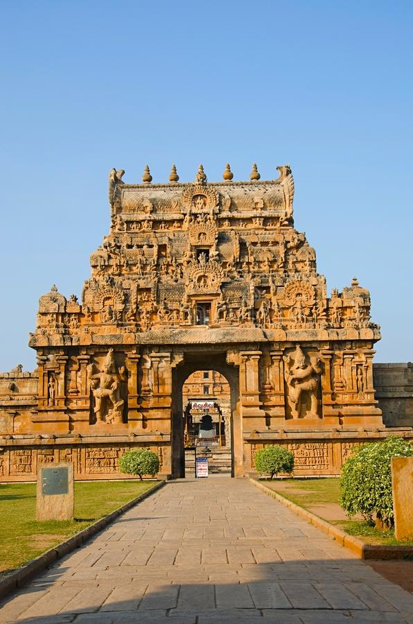 Carved Stone Gopuram and entrance gate of the Brihadishvara Temple, Thanjavur, Tamil Nadu, India. Carved stone Gopuram, entrance gate Brihadishvara Temple stock photo