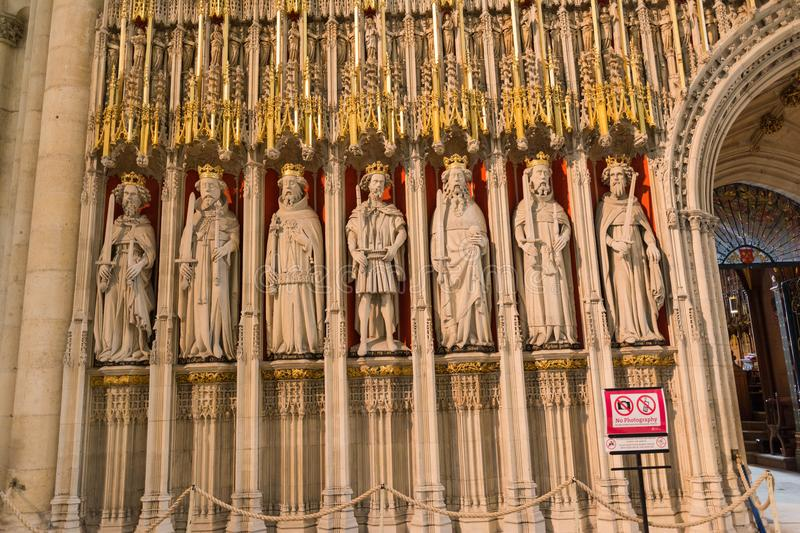 Stone statues of kings. The carved stone statues of seven Kings of England in York Minster stock image