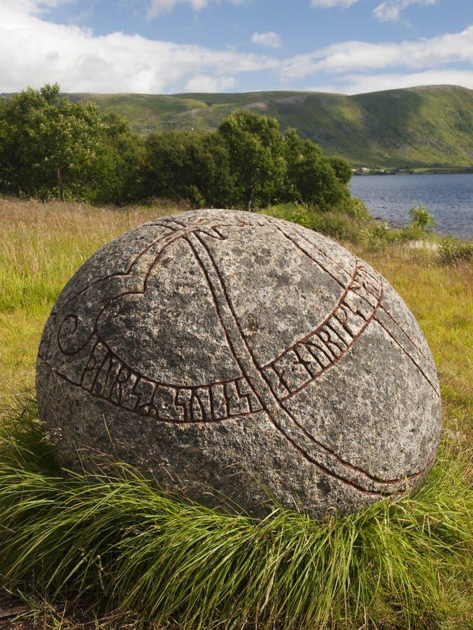 Carved viking stone stock photos