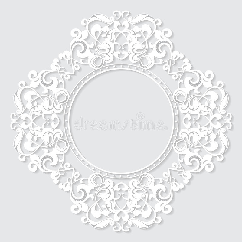 Carved vintage frame made of paper for picture or photo royalty free illustration