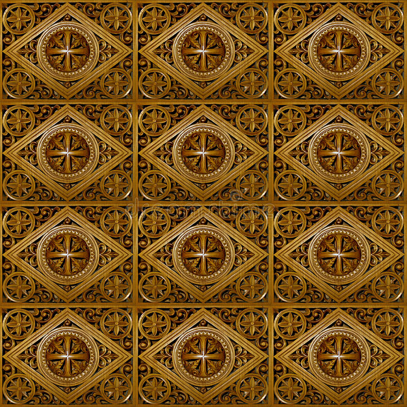 Carved Wood. Seamless Texture Tile from Photographic Original royalty free stock photos