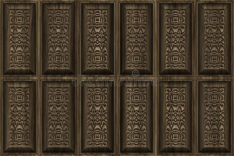 Carved Wood. Cabinet Design With Intricate Designs vector illustration