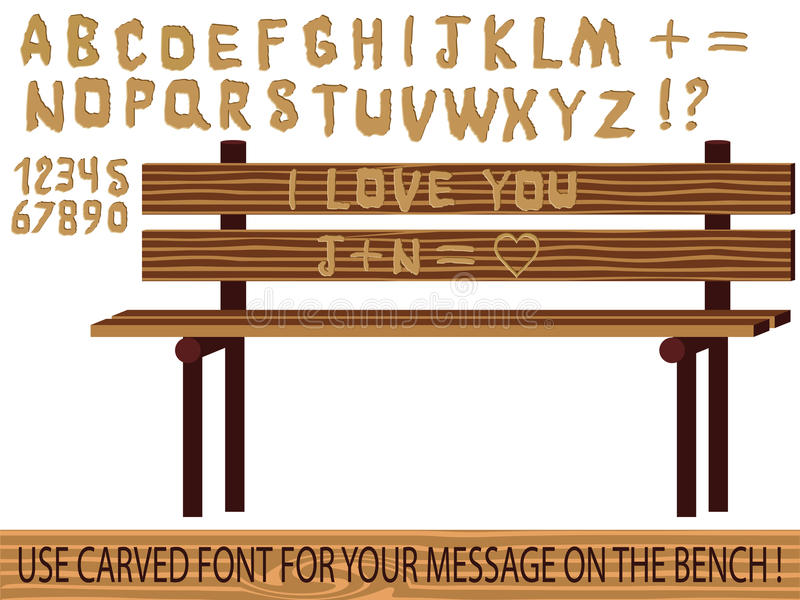 Carved on wood font. Vector illustration of a carved on wood font. use this font to write your message on the bench or any wooden background vector illustration