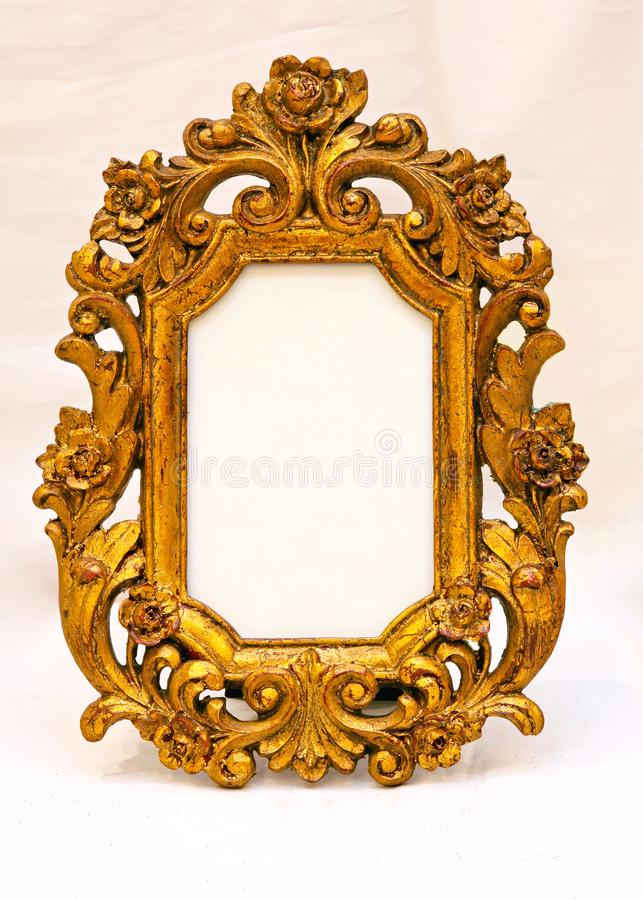 Carved Wood Frame. Classic Carved Wood Picture Frame Empty royalty free stock image
