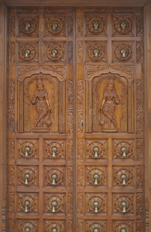 Free Carved Wood Hindu Temple Door Royalty Free Stock Photography - 65465457