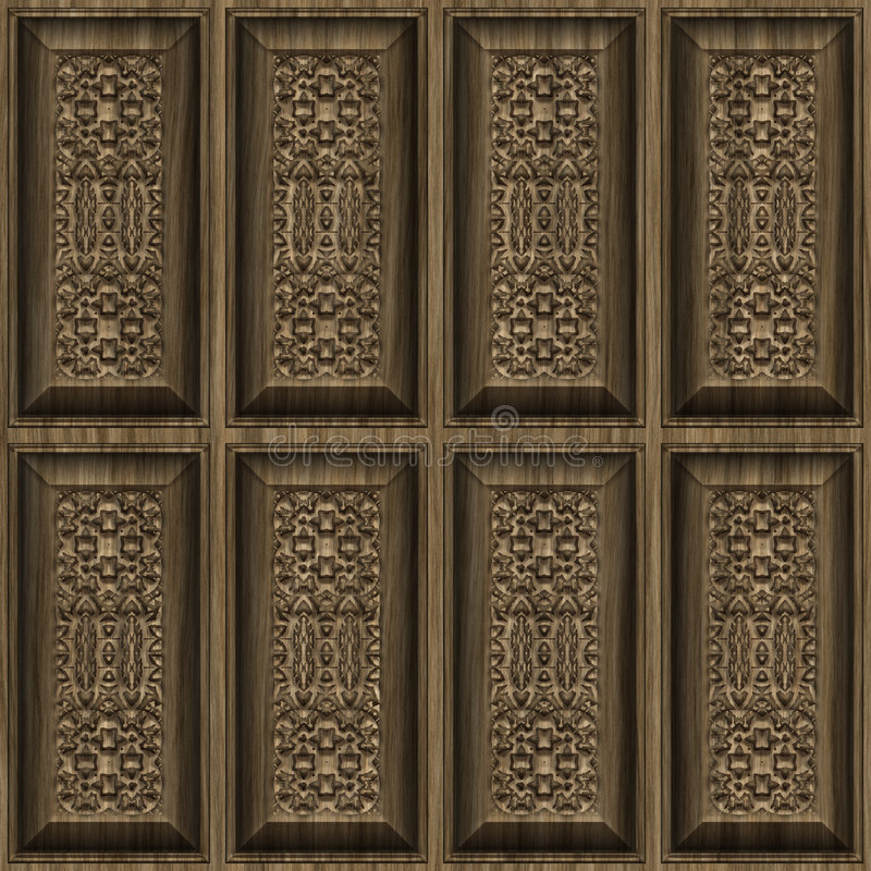 Carved wood panels. Ornate and intricate carved wooden panel wall stock illustration