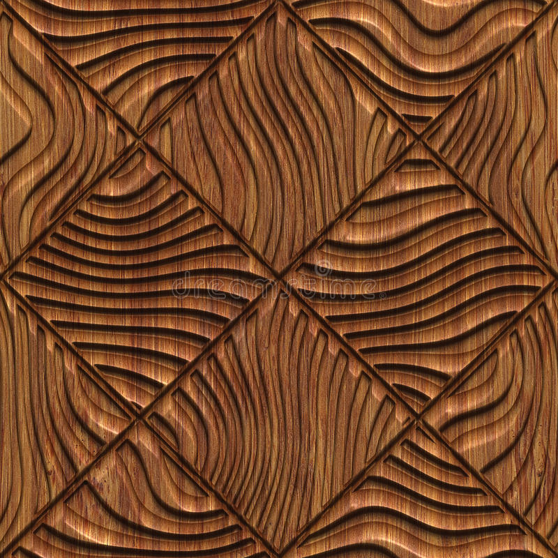 Carved wood seamless texture. Carved pattern on wood background seamless texture, 3d illustration stock illustration
