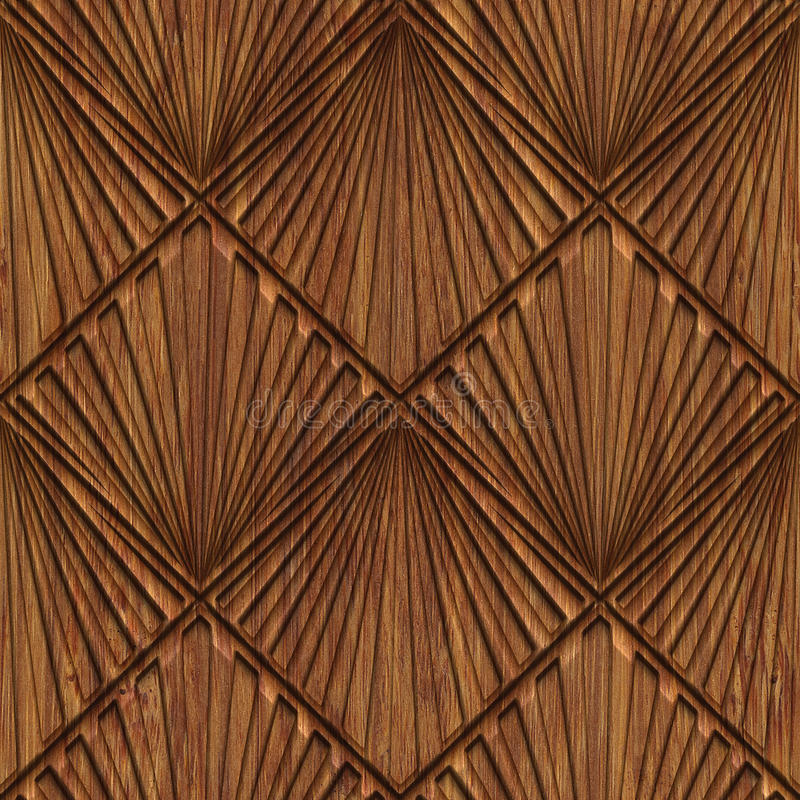 Carved wood seamless texture. Carved pattern on wood background seamless texture, 3d illustration vector illustration