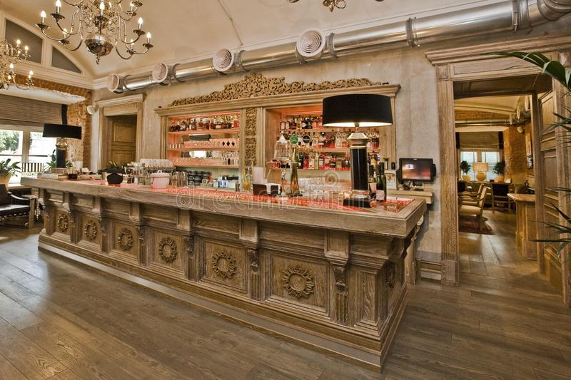 The carved wooden bar stock images