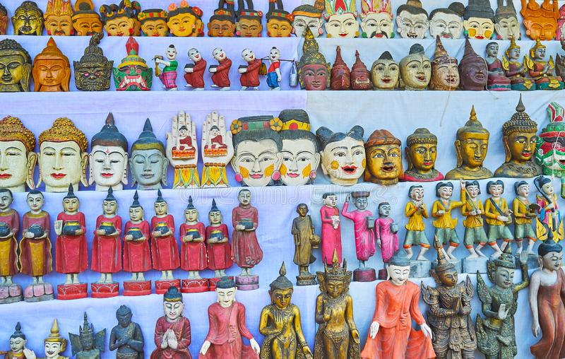 The carved wooden Buddhist souvenirs, Ava stock photo