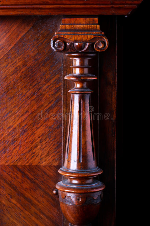 Carved wooden decoration of an old German piano royalty free stock photos