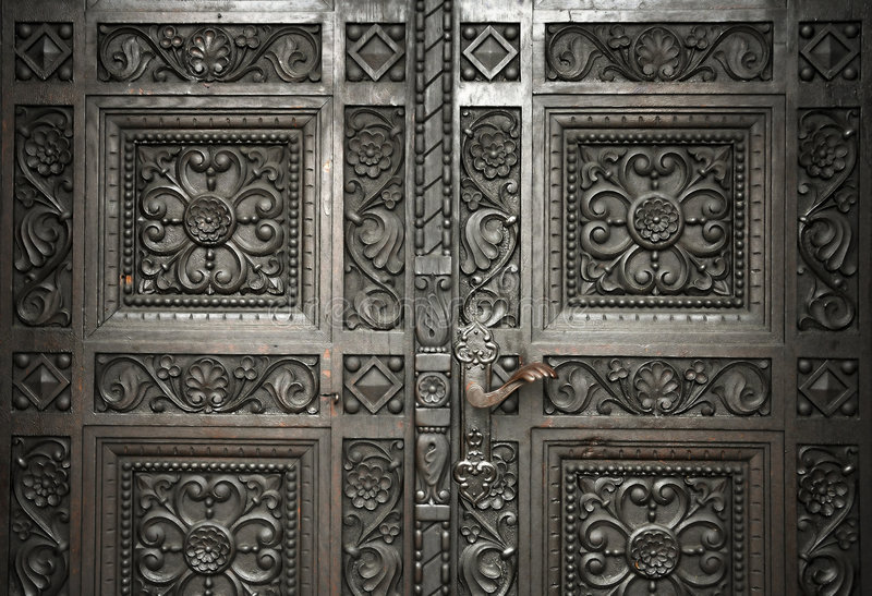 Carved wooden doors royalty free stock images