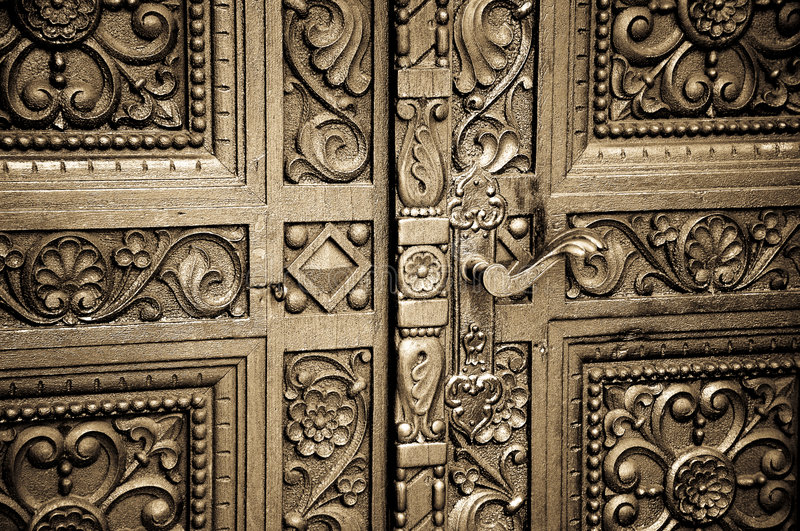 Carved wooden doors royalty free stock image