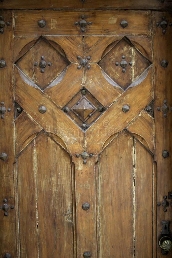Carved wooden doors stock photos