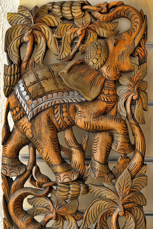 Carved Wooden Elephant stock photos