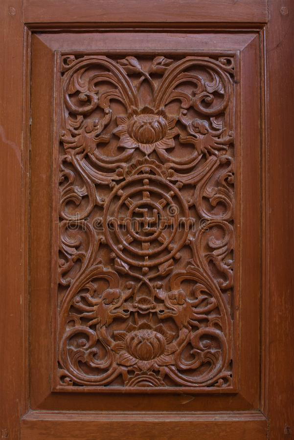 Carved wooden latticework with pattern of Chiness royalty free stock photos