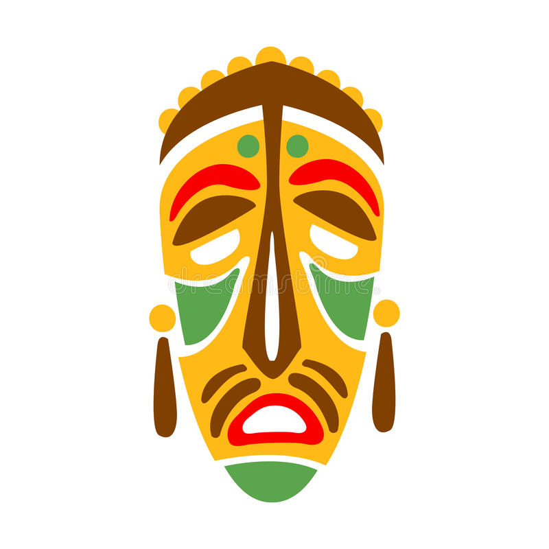 Carved Wooden Mask With Human Face, Native Indian Culture Inspired Boho Ethnic Style Print royalty free illustration