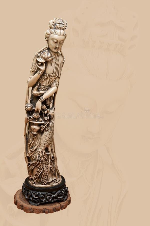 Carvery van Indische godin van vruchtbaarheid in ivoor stock afbeelding