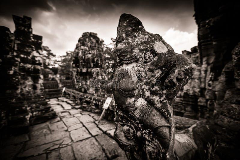 Carving Of Bayon Temple At Angkor In Cambodia Stock Photo