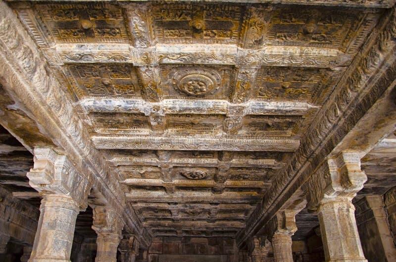 Carving details on the ceiling of Airavatesvara Temple, Darasuram, near Kumbakonam, Tamil Nadu, India. Carving details on the ceiling of Airavatesvara Temple stock images