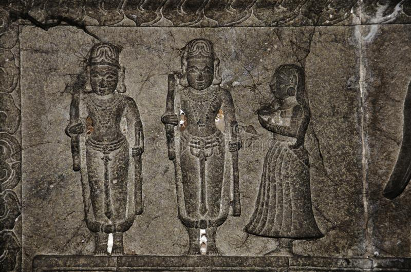 Carving details on the ceiling panel, inside the Vitthal Rukhmini Temple, Palashi, Parner, Maharashtra, India royalty free stock image