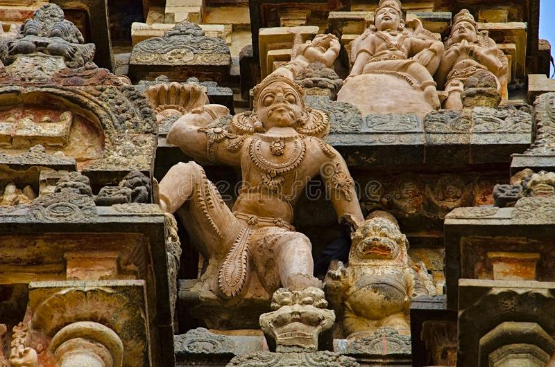 Carving details on the outer wall of Airavatesvara Temple, Darasuram, near Kumbakonam, Tamil Nadu, India. Carving details on outer wall of Airavatesvara Temple royalty free stock image