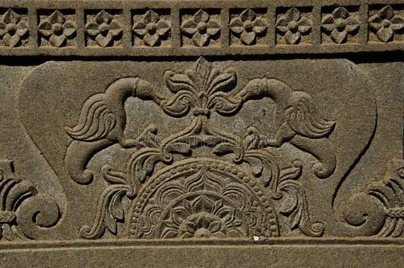 Carving details on the outer wall of the Vitthal Rukhmini Temple, Palashi, Parner, Maharashtra, India stock images