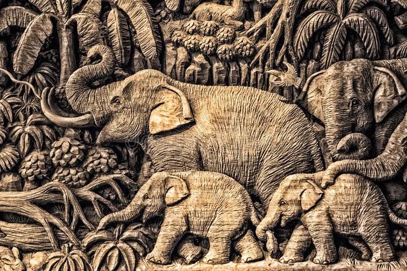 Carving Elephant. Art of Thai wood,wood carving from Thailand stock photography