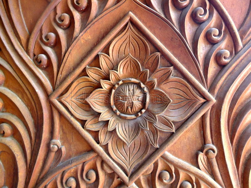 The carving flower patterns of Khmer Vam Ray temple in Vietnam. Vam Ray is the largest Khmer pagoda in Vietnam royalty free stock photography