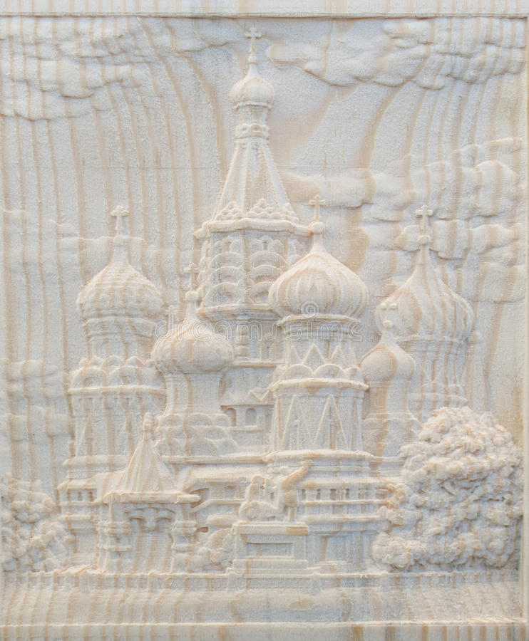 Carving on the machine with numerical control. Cut cutter machine bas-reliefs of the temple with domes stock photo