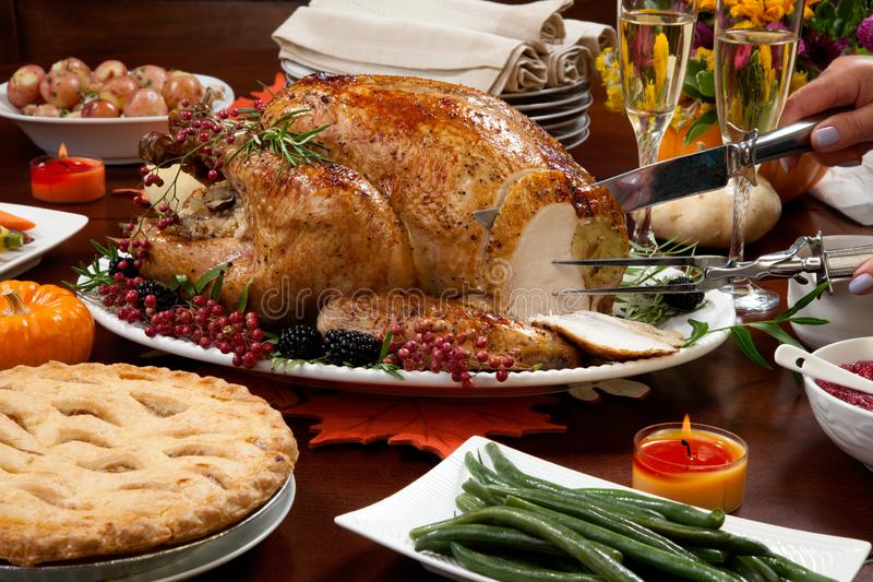 Carving Pepper Turkey for Thanksgiving stock photography