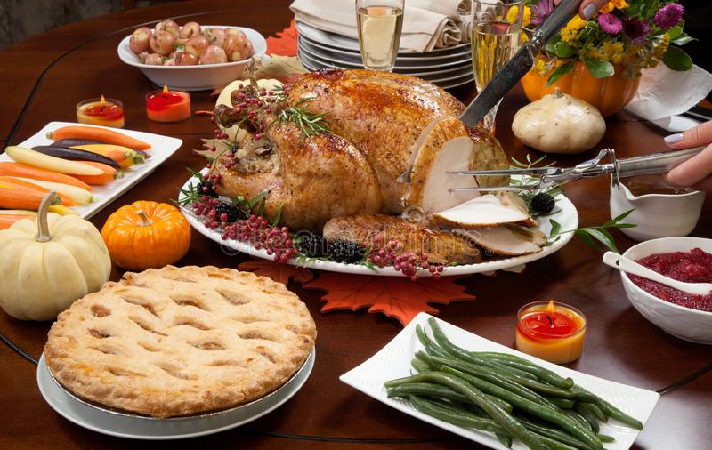 Carving Pepper Turkey for Thanksgiving stock image