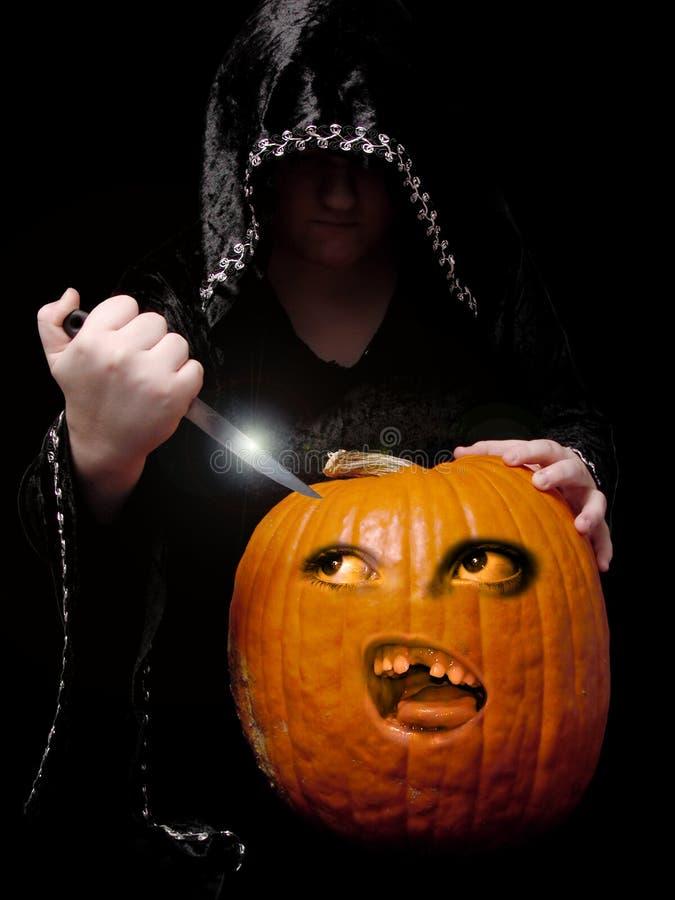 Carving the Pumpkin royalty free stock photos
