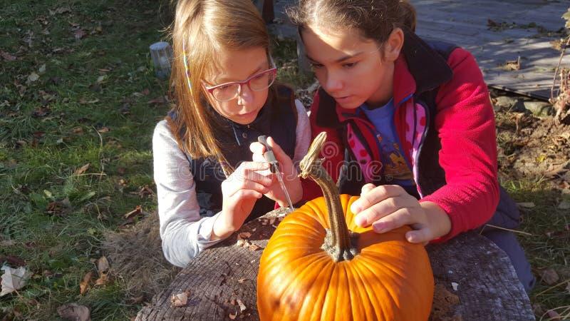 Carving pumpkin royalty free stock photo