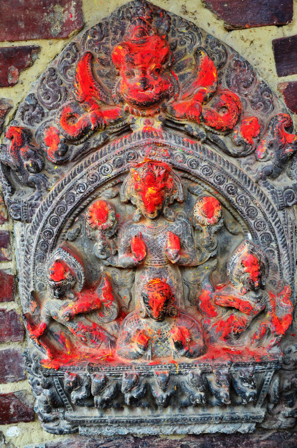 Carving on the wall in Patan Durbar Square Nepal. Patan Durbar Square is situated at the centre of Lalitpur city. It is one of the three Durbar Squares in the stock images