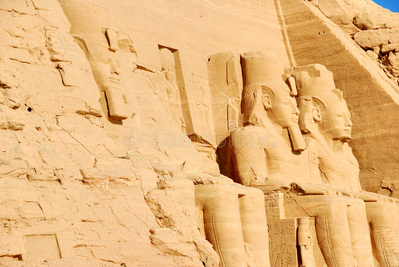Carvings Abu Simbel de Egypitan fotografia de stock