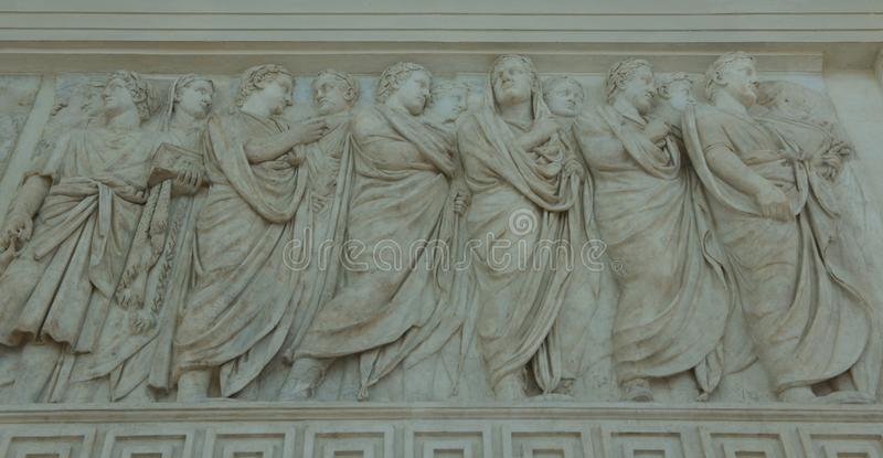 Carvings on Alter of Peace in Rome. The alter of peace or Accra Pacis Augustae was commissioned by the Roman senate on the4th July 13bc to honour the return of stock image