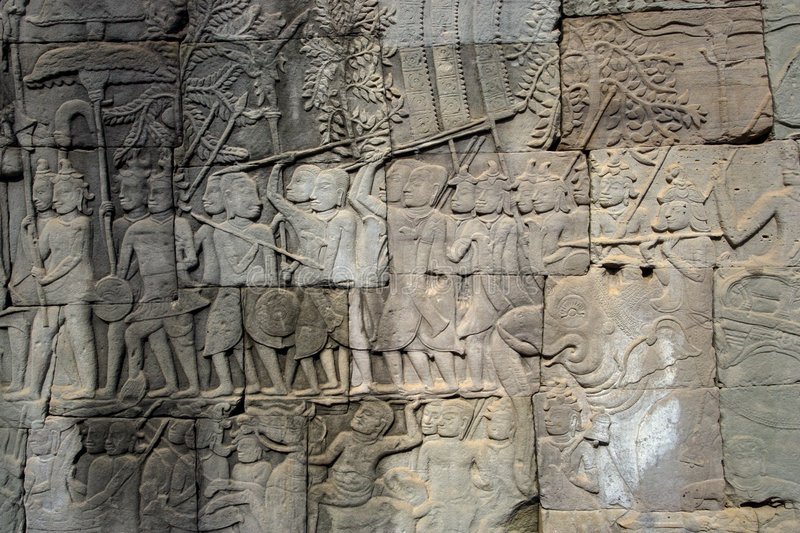 Carvings on an Angkor temple stock photo