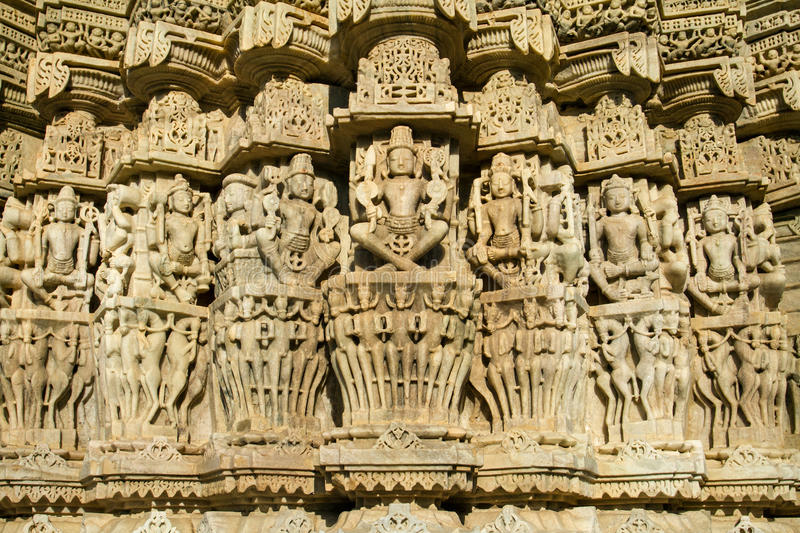 Carvings in Chaumukha temple in Ranakpur. Rajasthan, India stock images