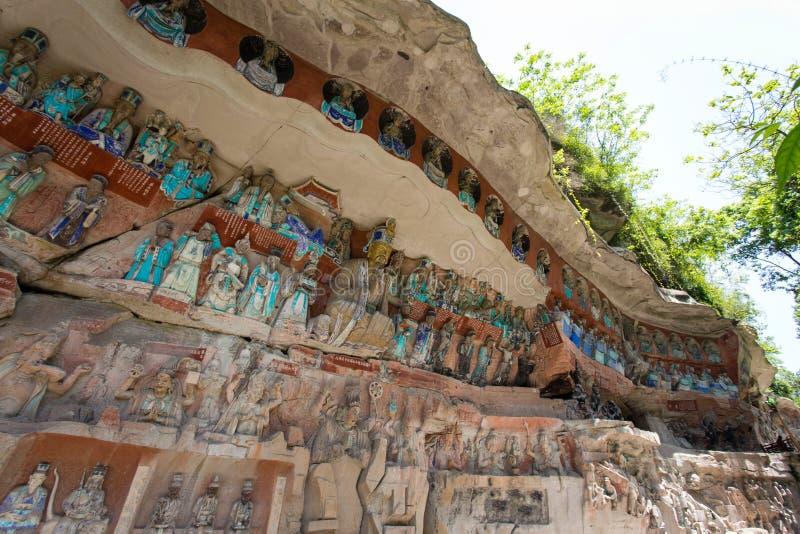 Carvings da rocha de Dazu imagem de stock